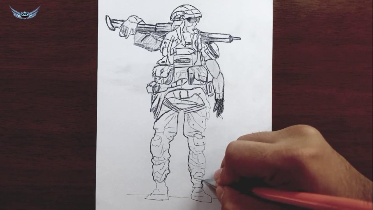 Komando Asker Nasil Cizilir Karakalem Cizimi Youtube