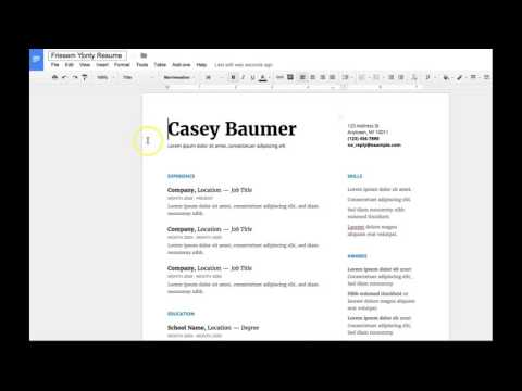 COMM 231 - Assignment #6 - Resume on a Google Doc