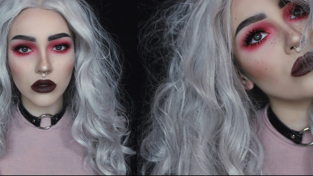 Red Eyeshadow Dark Lip Full Face Makeup Tutorial You