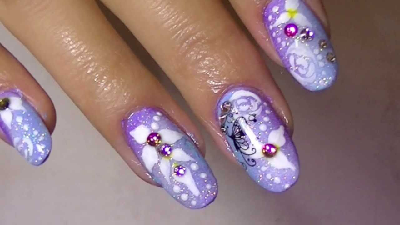 Delicate Soft Purple Blue Nail Art Roses Flowers Butterflies