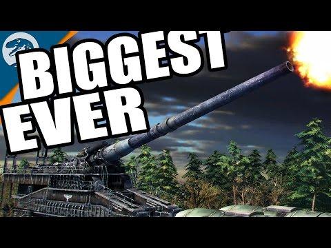 SHOOTING BIGGEST GUN EVER - 800MM MEGA CANNON   Blitzkrieg 3 Gameplay