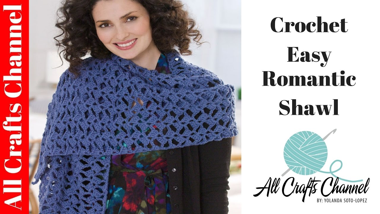 ... romantic lacy shawl - easy/beginner level / shawl en crochet - YouTube