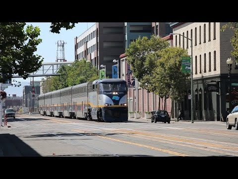 Amtrak California Trains at Jack London Square in Oakland (Street Running)