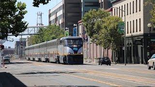Amtrak California Trains at Jack London Square in Oakland (Street Running)