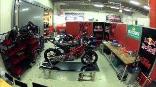 Timelapse video of Moto3 Factory KTM build-up