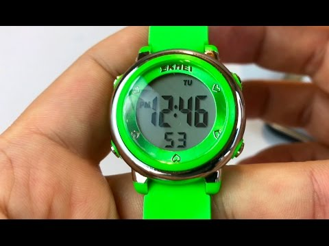 SKMEI Kids OLA-SK1100C Colorful LED Light Digital Watch Green review