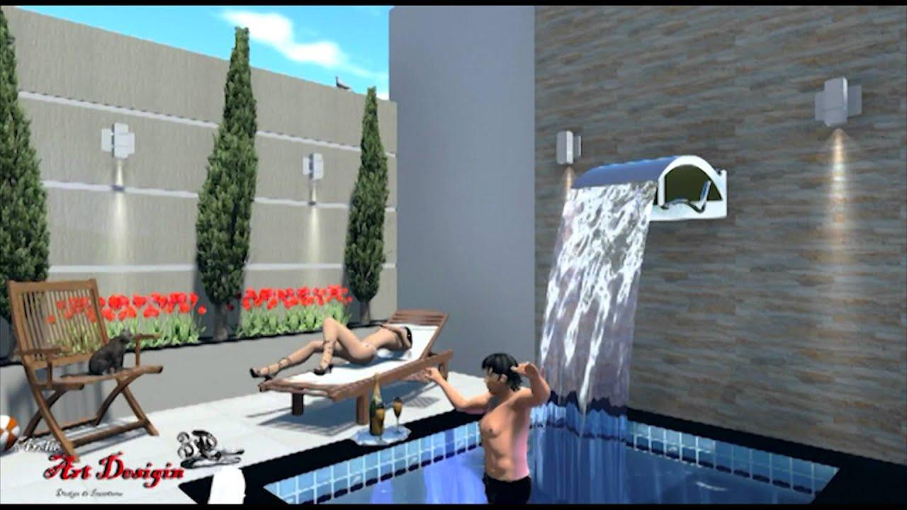 3d casa com rea de lazer ateli art design youtube for Piscinas pequenas medidas
