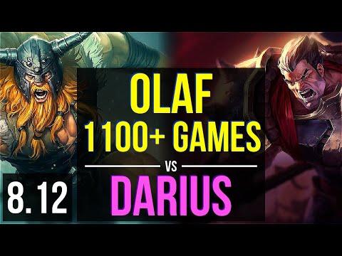 OLAF vs DARIUS (TOP) ~ 1100+ games, KDA 9/0/5, Legendary ~ Korea Master ~ Patch 8.12