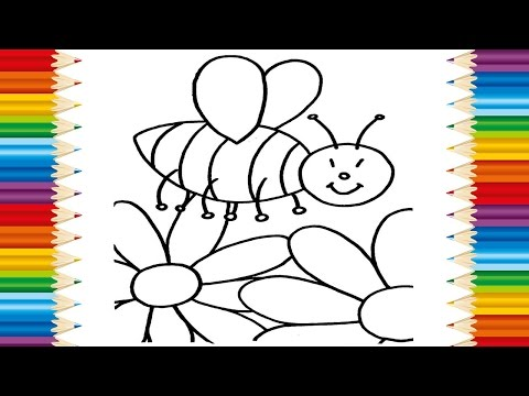 Learning How to Draw Bees and flowers Teach COlORING PAGE Bees flowers for Kids
