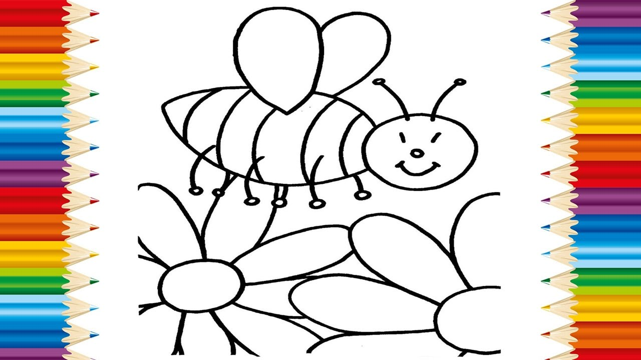 Learning how to draw bee and flowers teach coloring page Teach me how to draw a flower