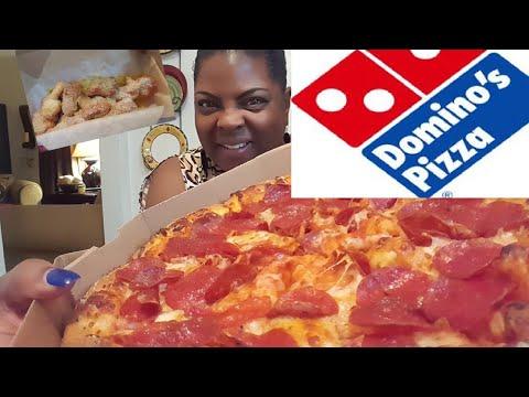 Domino's🍕 Pepperoni Pizza & Parmesan Bread Twists. Mukbang(eating show) Upcoming Collab??