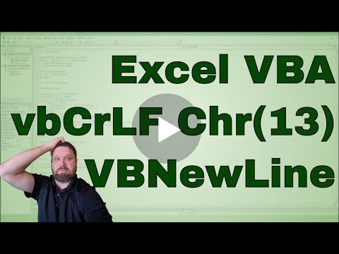 VBA New Line Character VbNewLine VbCrLF And Chr(13) - Code Included