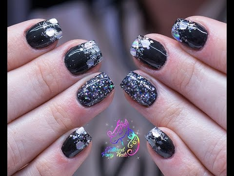 Watch Me Work Gel Nails Black With Embedded Chunky Silver