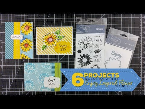 How to use the Enjoy Layered Flower stamp set 6 different ways - Technique Tuesday