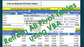 VBA to update All Pivot Tables - Excel VBA Programming example by Exceldestination