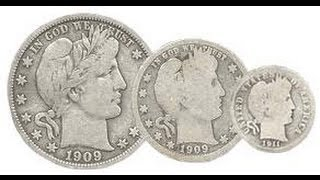 Barber coins 1897 half dollar and 1893 quarter