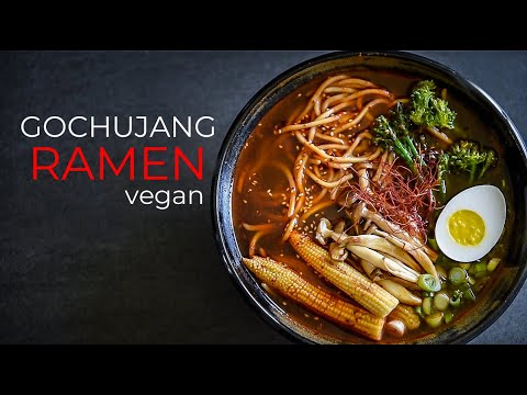 GOCHUJANG VEGAN RAMEN RECIPE | KOREAN CHILI PASTE + CASHEW EGG!