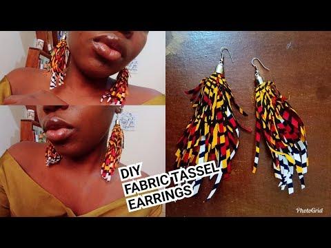 DIY. AFRICAN PRINT TASSEL EARRINGS tutorial.