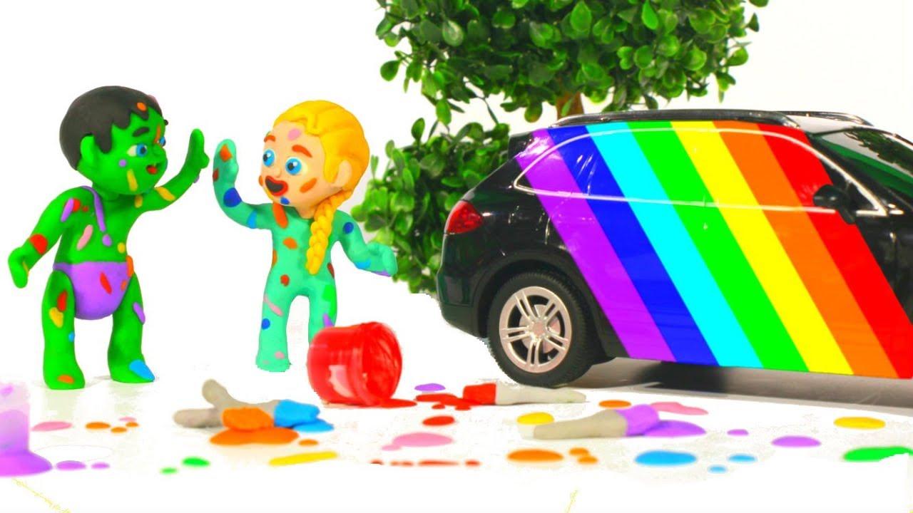 SUPERHERO BABIES FIX THE CAR CRASH ❤ Spiderman, Hulk & Frozen Play Doh Cartoons For Kids