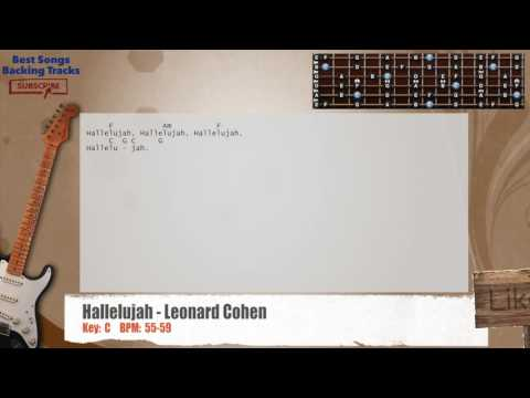 Hallelujah - Leonard Cohen Guitar Backing Track with chords and lyrics