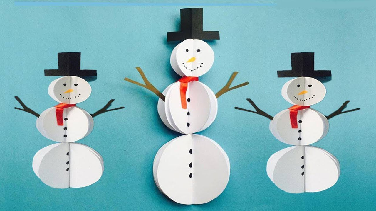 Diy Paper Snowman Craft Easy Snowman Making Ideas Winter Crafts