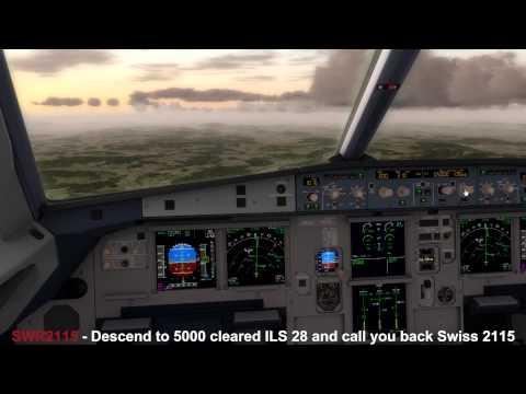 Prepar3D v2.3 - Swiss A321 landing in Zurich with realtime ATC