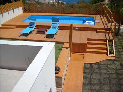 Piscina con solarium in legno youtube for Piscine 3x6