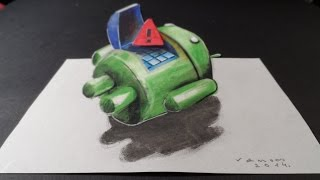 Android Red Triangle, 3D Drawing, Trick Eye