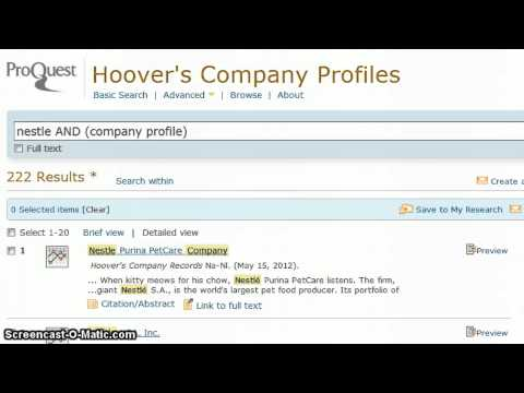 Company Profiles in Hoover's