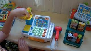 Детская касса с микрофоном и сканером+обучение цифрам