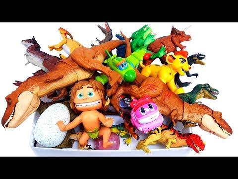Box of Toys, Jurassic World dinosaur, The Good dinosaur, Lion Guard, GoGo Dino, Schleich Figures Toy
