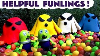 Funny Funlings Ghost Rescue candy hunt with Play Doh and Thomas The Tank Engine TT4U