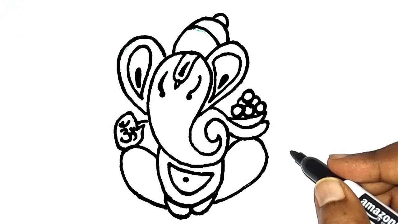 How to draw ganesha drawing for kids vinayaka vinayagar drawing ganesh chaturthi special