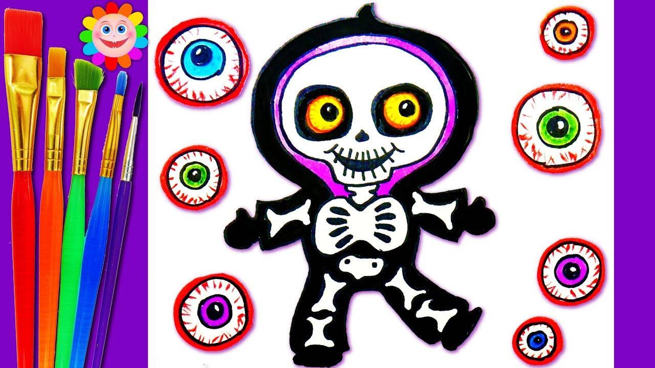 how to draw a skeleton scary halloween coloring page for kids