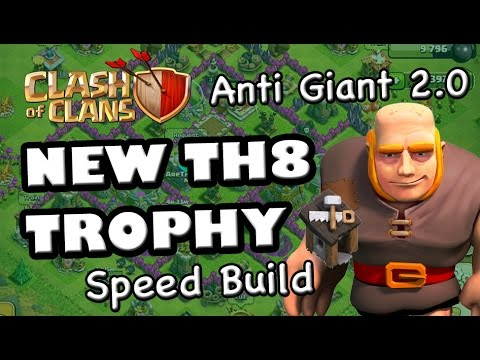 TH8 New TROPHY Base (Anti Giant 2) - Speed Build with 4 Mortars