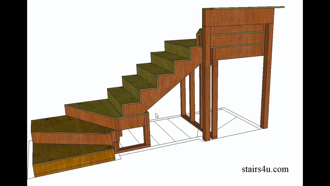 How to build and frame winder stairs example from book for Building winder stairs