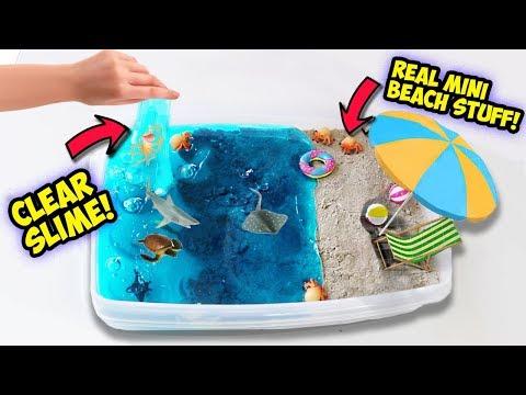 DIY SUMMER BEACH SLIME! Clear Slime! Squishy Sea Creatures! REAL MINI BEACH SUPPLIES!