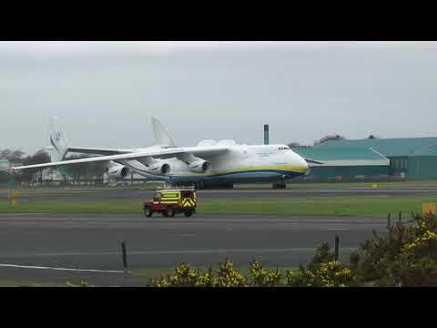 Antonov 225 Mriya (AN225) lands at Prestwick (Scotland)