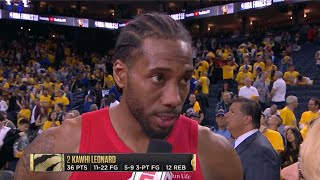 """Kawhi Leonard: """"I don't play hero basketball. I'm not playing for fans."""" Game 4 Postgame Interview"""