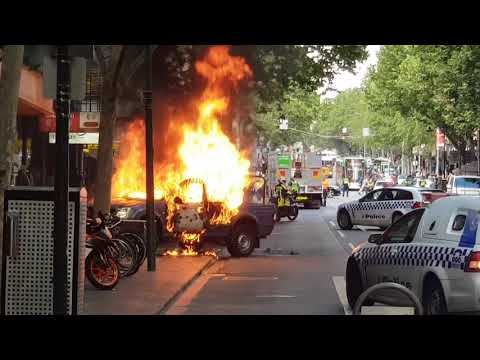Melbourne Bourke Street Attack Car on Fire