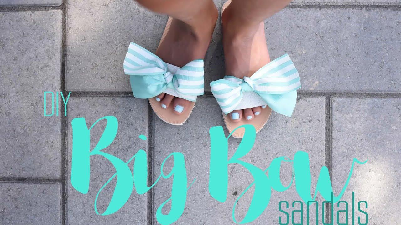 aac0f027f633 DIY Big Bow Sandals Tutorial - YouTube