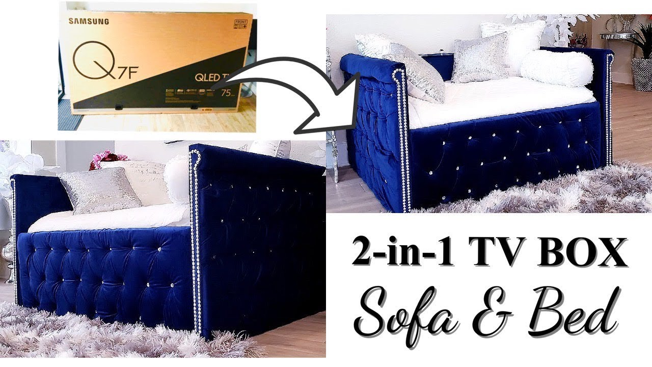 HOW TO USE TV BOXES TO MAKE A 2-IN-1 SOFA/ BED WITH STORAGE!