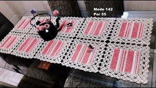 Caminho de mesa Crochê com Tecido Napperon