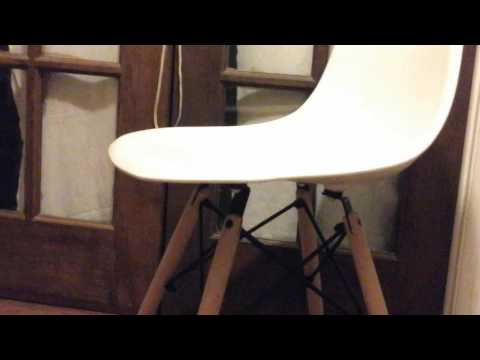 Eames Style Modern Dining Armless Side Chairs (Set of 4) | Molded White ABS Plastic With Wood & Blac