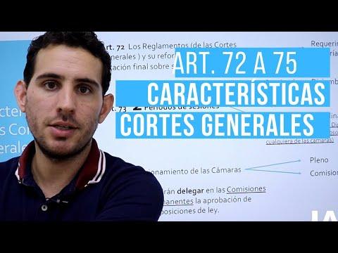 Cortes Generales. Características Generales y funcionamiento. Art. 72 al 75. CE
