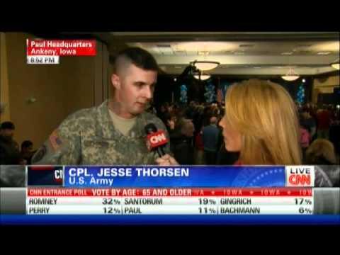 Ron Paul veteran cut off during CNN interview Iowa Caucus 1/3/12