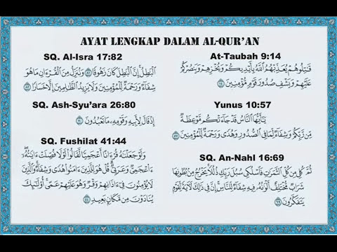 Ayat Pengobatan (Ayat Syifa) - 6 ayat dalam Al Quran