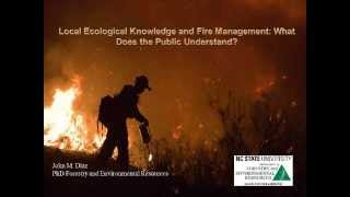 Local ecological knowledge and fire management: What does the public understand?