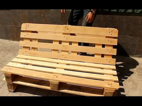 Banco de palets youtube for Fabricacion de muebles con palet de madera