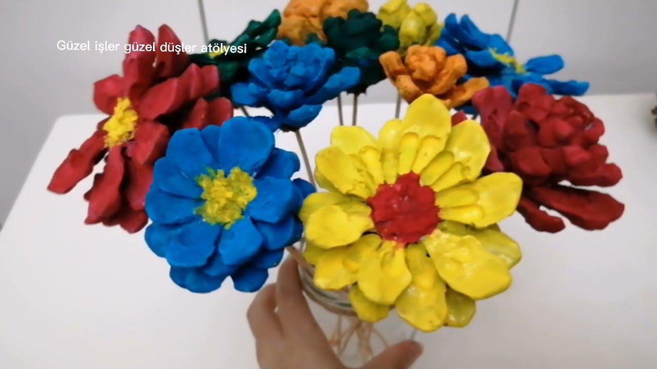 Kozalaktan çiçek yapımı kozalak boyama nasıl yapılır kozalaktan dekorasyon